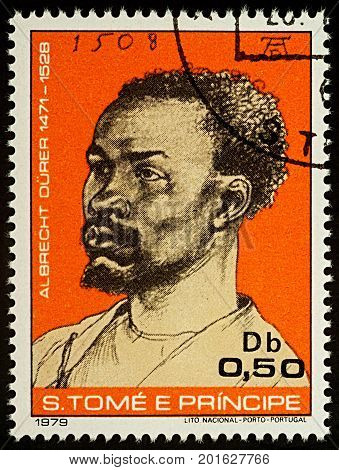 Moscow Russia - August 28 2017: A stamp printed in Sao Tome and Principe shows portrait of a black man by Durer series