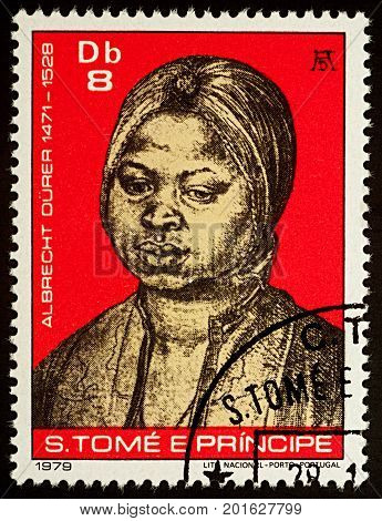 Moscow Russia - August 28 2017: A stamp printed in Sao Tome and Principe shows portrait of a black woman by Durer series