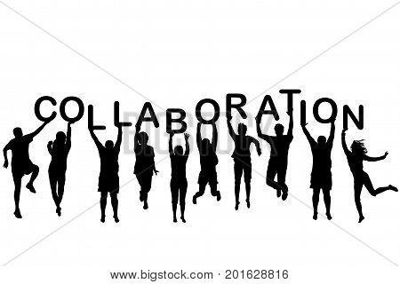 People silhouettes holding letter with word Collaboration