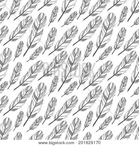 Large black contour feathers. seamless pattern with geometric ornaments. doodle
