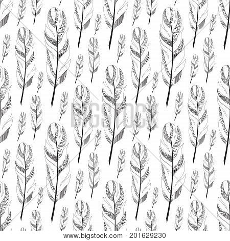 black large contoured feathers. Vertical seamless pattern.doodle