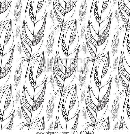large contour black feathers with geometric elements. diagonal seamless pattern. Doodle Textile Design