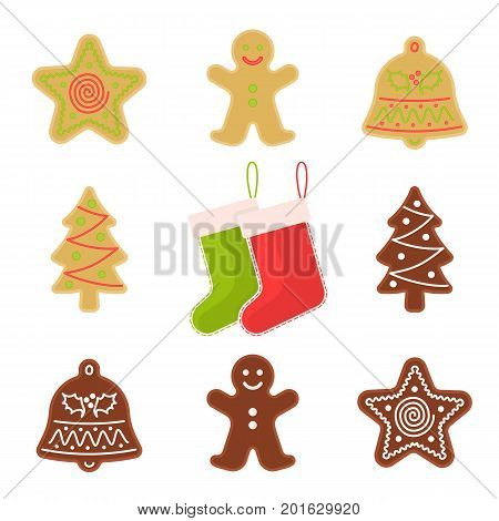Traditional xmas cookies symbols: gingerbread, christmas tree, star, bell, socks. Flat illustration of christmas winter holiday sweet baked treats. Isolated on white background vector design elements.