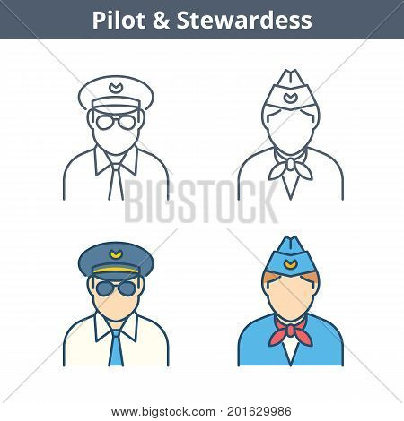 Occupations colorful avatar set: pilot, stewardess. Flat line professions userpic collection. Vector thin outline icons for user profiles, web design, social networks and infographics.