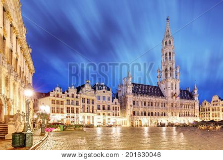 Night scene of the Grand Place the focal point of Brussels Belgium.