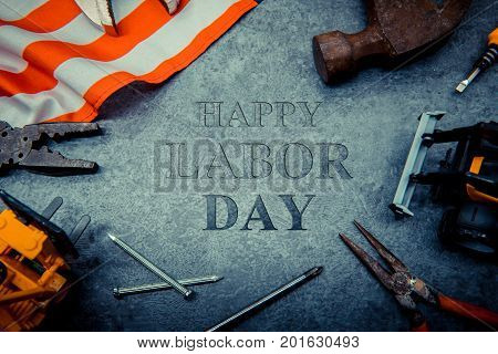 construction tools with text for Labor day