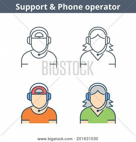 Occupations colorful avatar set: support operator. Flat line professions userpic collection. Vector thin outline icons for user profiles, web design, social networks and infographics.