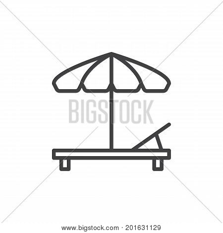 Beach umbrella and Sun lounger line icon, outline vector sign, linear style pictogram isolated on white. Sunbed symbol, logo illustration. Editable stroke. Pixel perfect vector graphics
