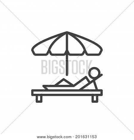Sunbathe line icon, outline vector sign, linear style pictogram isolated on white. Parasol and sun lounger symbol, logo illustration. Editable stroke. Pixel perfect vector graphics