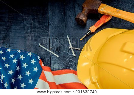 construction tools with copy space for Labor day