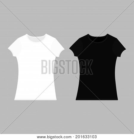 T-shirt template set. Black white color. Man woman unisex model. Two t shirt mockup. Front side. Flat design. Isolated. Gray background. Vector illustration