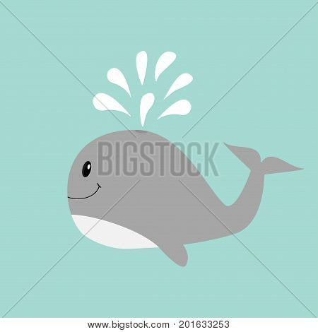 Gray whale with water fountain. Sea ocean life. Cute cartoon character with eyes tail fin. Smiling face. Kids baby animal collection. Flat design Blue background Isolated. Vector illustration