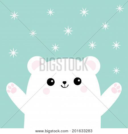 Polar white small little bear cub. Reaching for a hug. Cute cartoon baby character. Open hand ready for a hugging. Arctic animal collection. Flat design. Winter snow flake background. Isolated. Vector