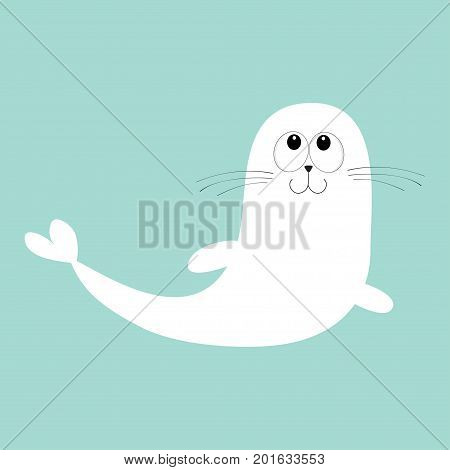 White harp seal pup lying on iceberg ice. Sea lion. Cute cartoon character. Happy baby animal collection. Sea ocean water. Blue background. Flat design Vector illustration