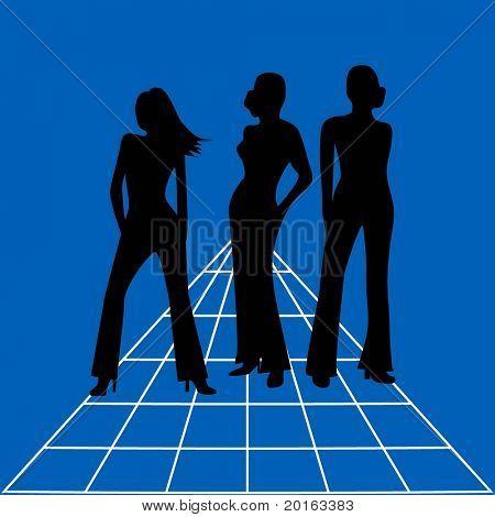 drei moderne Frauen Abbildung (Business oder Spiel)