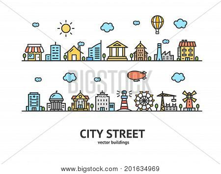 City Street House Building Outline Design Landscape Background Urban Architecture Exterior Facade Line. Vector illustration of houses or different buildings