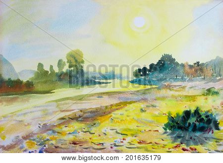 Watercolor landscape original painting colorful of sun in morning and mountain river in beauty nature season. Painted impressionist abstract image