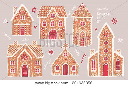 Gingerbread houses set. Cute hand drawn honey-cakes with patterns. Colorful vector illustrations collection