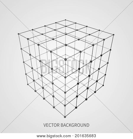 Cube 3d mesh wireframe. Web and data connection vector concept. Model complex object 3d square, geometric box structure wireframe illustration