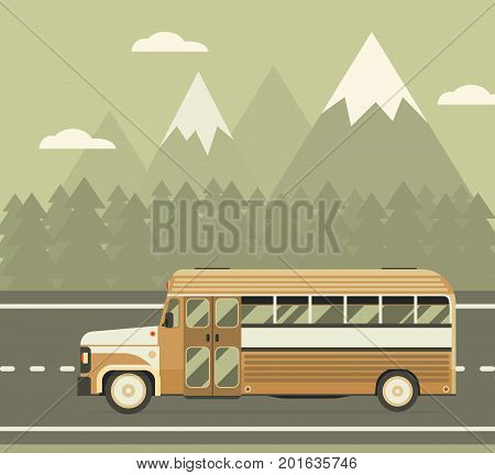 Coach trip illustration with retro bus driving on highway near forest and mountain area. Bus travel concept background.