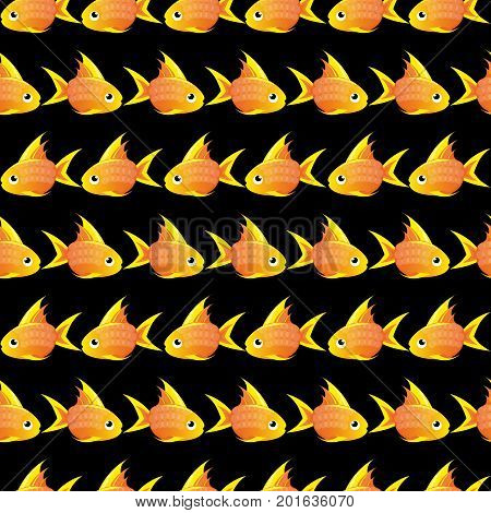 black Seamless pattern with large goldfish. vector