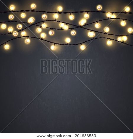 Yellow Christmas incandescent light strings on the dark gray background. Vector design elements.