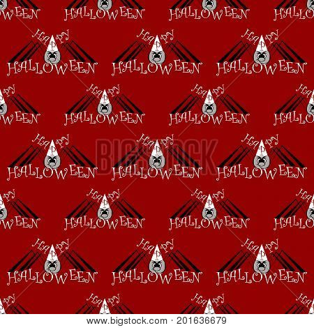 red Seamless pattern with a black and grey spider on Halloween. vector