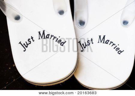 "flip flops ""just married"" poster"