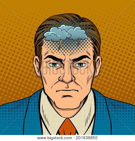 Man with bad mood pop art retro vector illustration. Comic book style imitation.