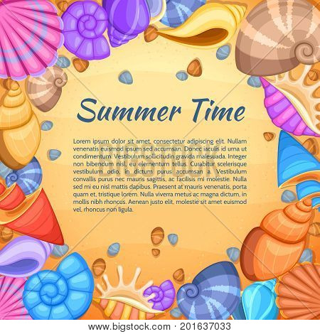 Summer travel vector card with cartoon sea shell border. Summer time banner with shell frame and beach sand illustration