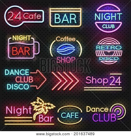 Vintage cafe and night club roadside neon signs vector set. Neon night light signboard roadside, club dance or coffee shop illustration
