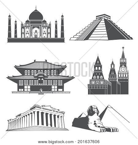 Travel silhouette landmarks with famous world monuments vector set. Famous monument statue and temple architecture illustration