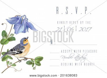 Vector wedding invitation R.S.V.P. card with elegant blue flowers and cute bird isolated on white background. Can be used as floral design for cosmetics, perfume, health care products, greeting cards