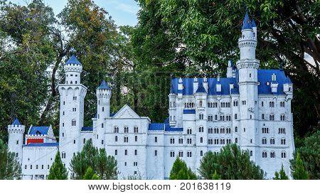 Mini Siam, Pattaya, Chonburi Province, Thailand. - NOVEMBER 1, 2015 : Neuschwanstein castle landmark of Germany at Mini Siam miniature park attraction.