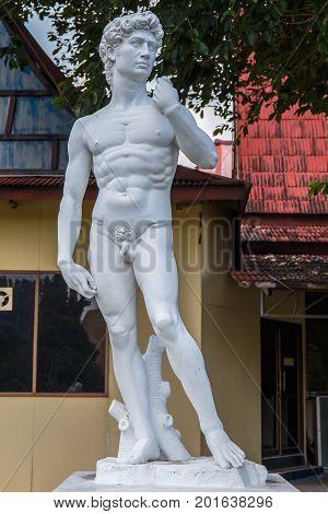 Mini Siam, Pattaya, Chonburi Province, Thailand. - NOVEMBER 1, 2015 : Replica of David statue by Michaelangelo landmark of Rome, Italy at Mini Siam miniature park attraction.