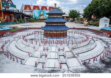 Mini Siam, Pattaya, Chonburi Province, Thailand. - NOVEMBER 1, 2015 : Tien Tan landmark of China at Mini Siam miniature park attraction.