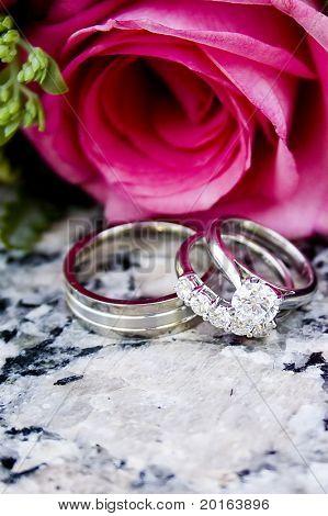 hot pink rose with platinum diamond