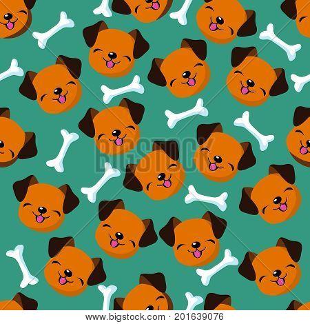 Happy dog face seamless vector pattern. Cute dog cartoon and bone pattern illustration
