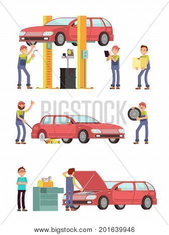 Car repair auto service with mechanic characters in uniform vector set. Mechanic repair car, automobile maintenance illustration