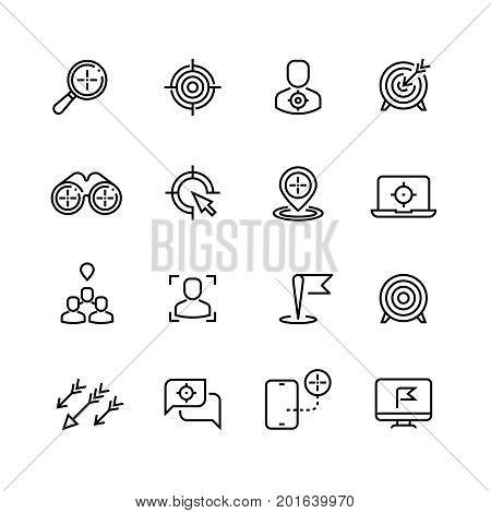 Bullseye, customer focus and targeting line vector icons. Success bullseye, arrow accuracy in dartboard illustration
