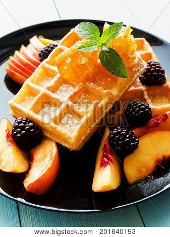Belgium Waffles With Fruits And Honey