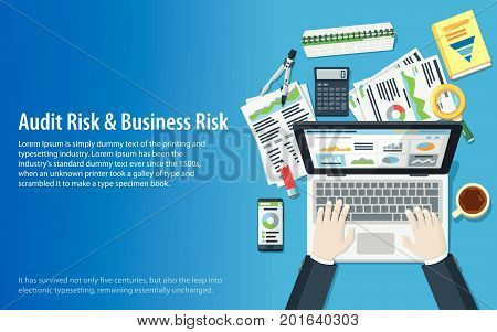 Auditing and business concepts. Hands of a man on a laptop keyboard. Tax process. Research, accounting, analysis, data, project management, planning. Top view of the workplace. Vector illustration