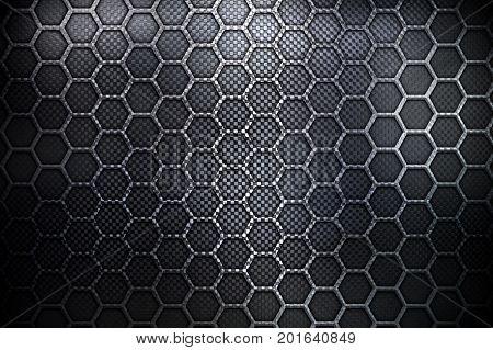 black honeycomb metal design background