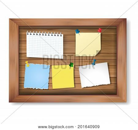 Realistic vector wooden frame with pinned pieces of paper. Notes and message papers on wooden bulletin board.