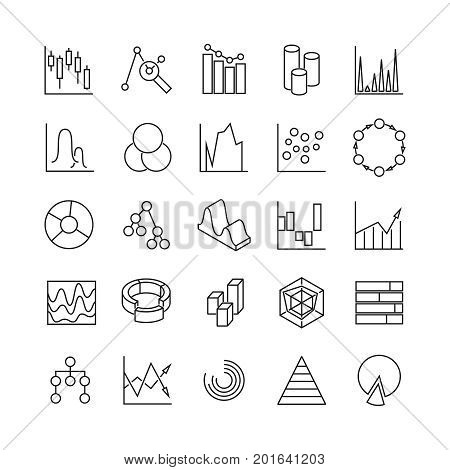 Financial charts and statistics infographic business diagrams line vector icons. Analytic graphs poctograms. Chart and diagram, graph line financial illustration