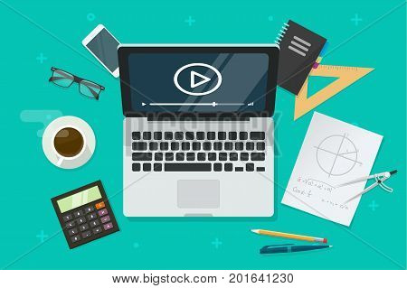 Education online via laptop vector illustration, flat cartoon table with computer showing distance learning video lesson, idea of e-learning, internet education, webinar studying