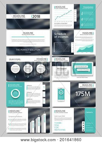 Keynote style business presentation vector template. Multipurpose corporate brochure or booklet with infographic charts. Layout leaflet for business presentation illustration