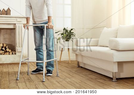 Walking frame. Close up of professional walking equipment being designed for aged people