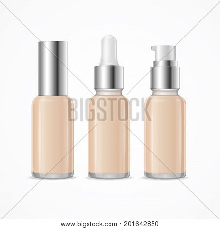 Realistic 3d Empty Template Foundation Cream Tube Package Mock Up Set Cosmetic Beauty Product with Pump or Dispenser for Marketing and Advertising. Vector illustration of Three bottles of creams