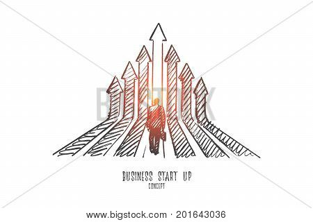 Business start up concept. Hand drawn man standing before start of new business. Businessman looking forward his new project isolated vector illustration.